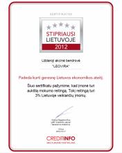 """Suteiktas """"Stipriausi Lietuvoje 2014"""" sertifikatas"""