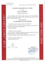 Kokybės vadybos sistemos ISO 9001:2008/LST EN ISO 9001:2008 sertifikatas