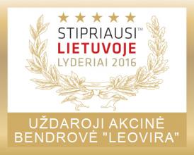 """""""Stipriausi Lietuvoje lyderiai 2016"""" sertifikatas"""