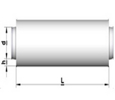 TST: Triukšmo slopintuvas apvalus, tiesus. Izoliacijos storis 50 mm.