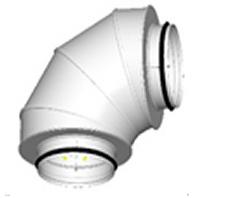 TSL: Triukšmo slopintuvas apvalus, kampinis. Izoliacijos storis 50mm.